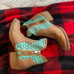 Turquoise and tan booties
